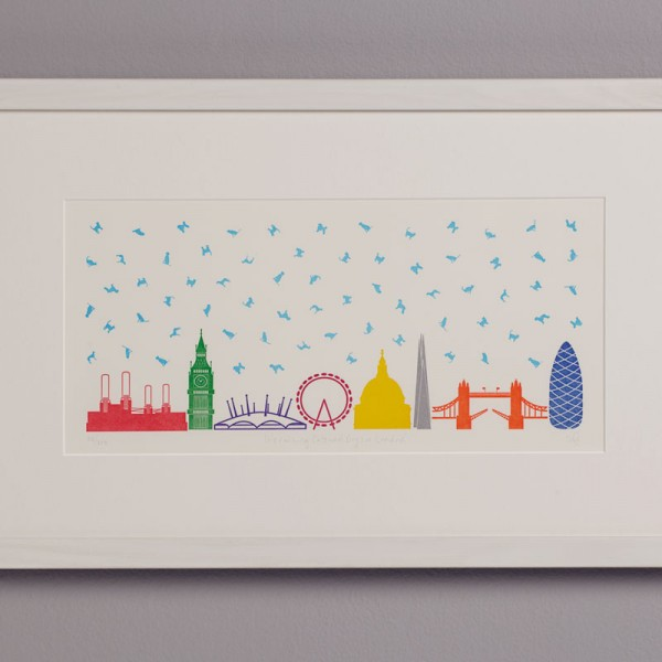 It's Raining Cats & Dogs in London - Letterpress Print