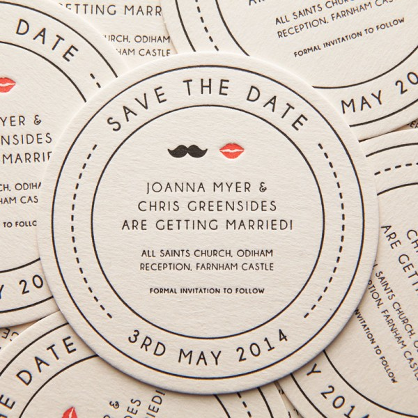 Letterpress Mr & Mrs Save the Date Coaster