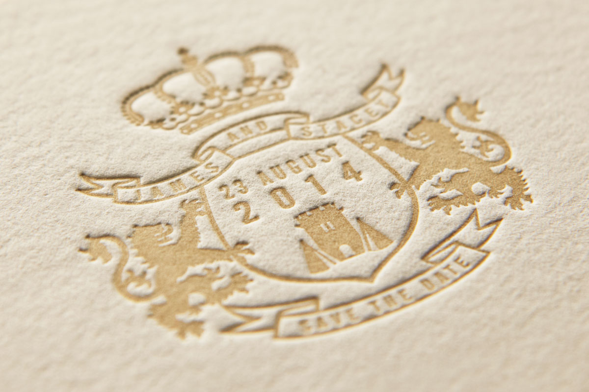 Regal - Coate of Arms - Luxury Letterpress Wedding Motif