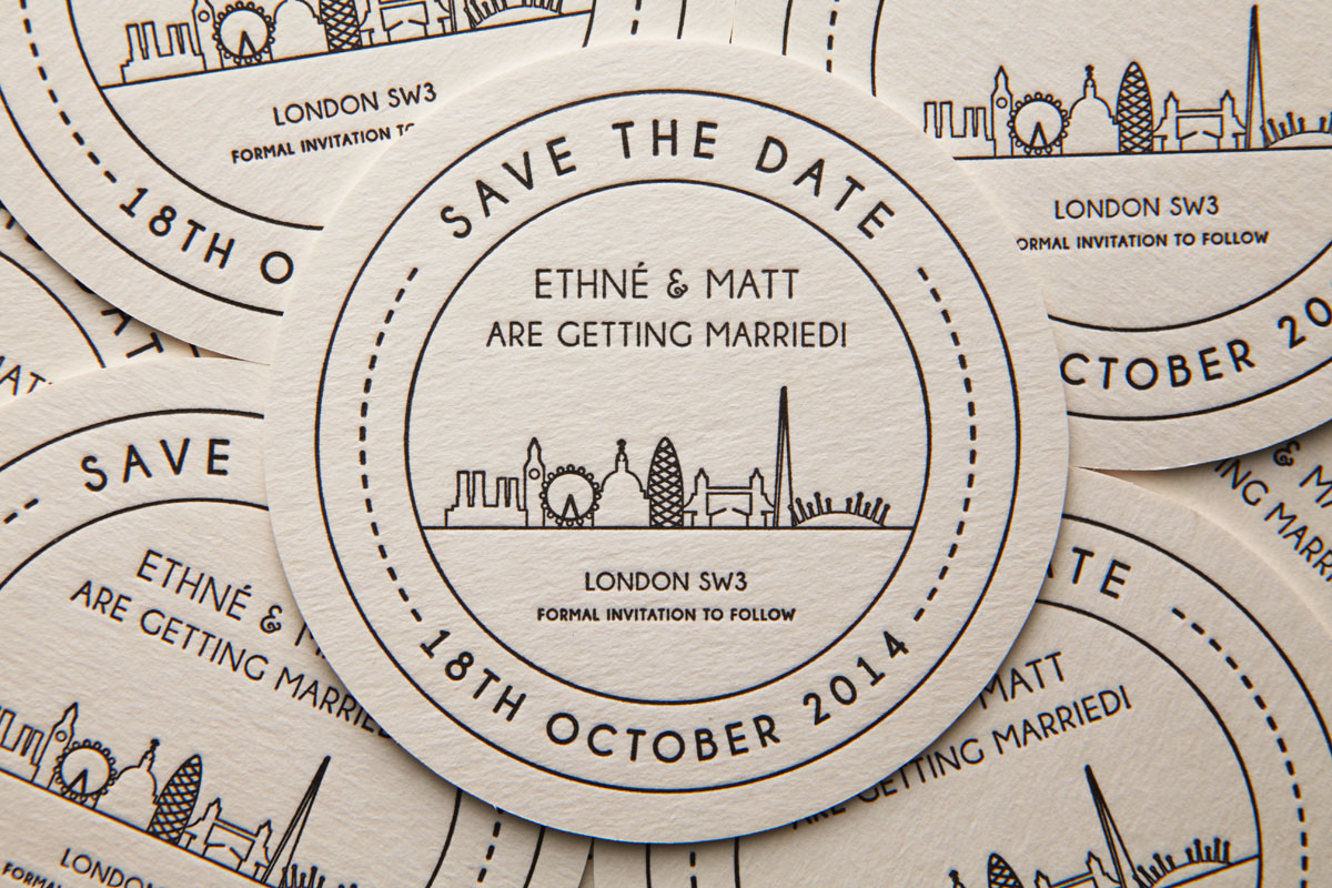 Save The Date, London Letterpress Beer Mats (Battersea Power Station, Big Ben, London Eye, St Pauls Cathedral, Ghurkin, Tower Bridge, The Shard, O2 Millenium Dome)