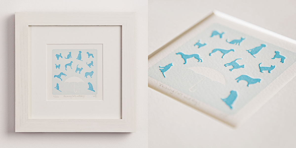 Raining Cats & Dogs Letterpress Print, Limited Edition, Animal Sayings