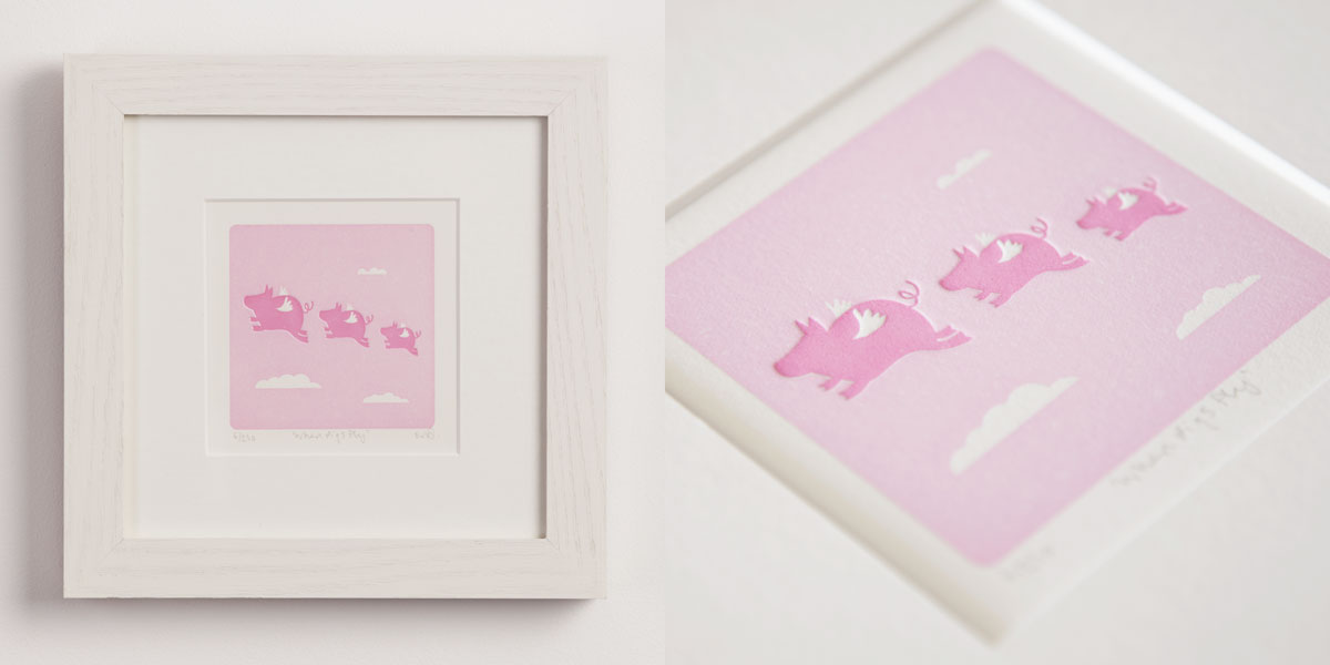 When Pigs Fly - Letterpress Print, Limited Edition, Animal Sayings