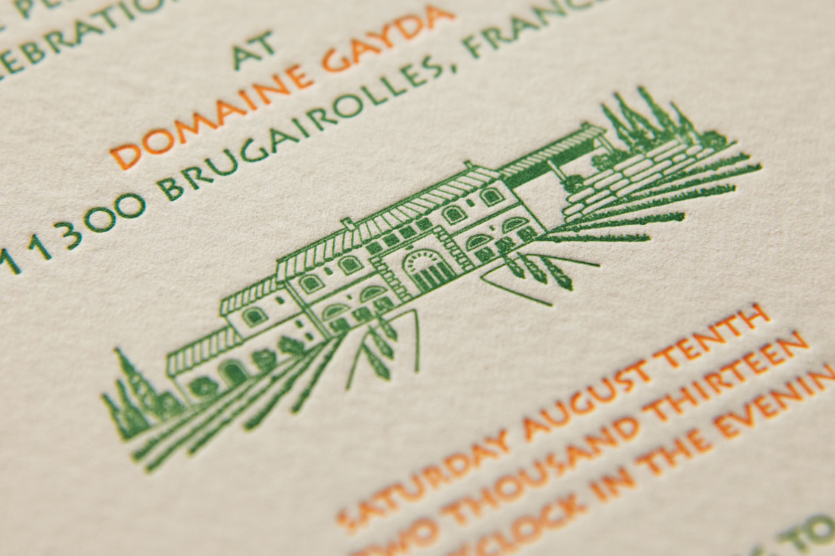 Domaine Gayda, custom letterpress illustration