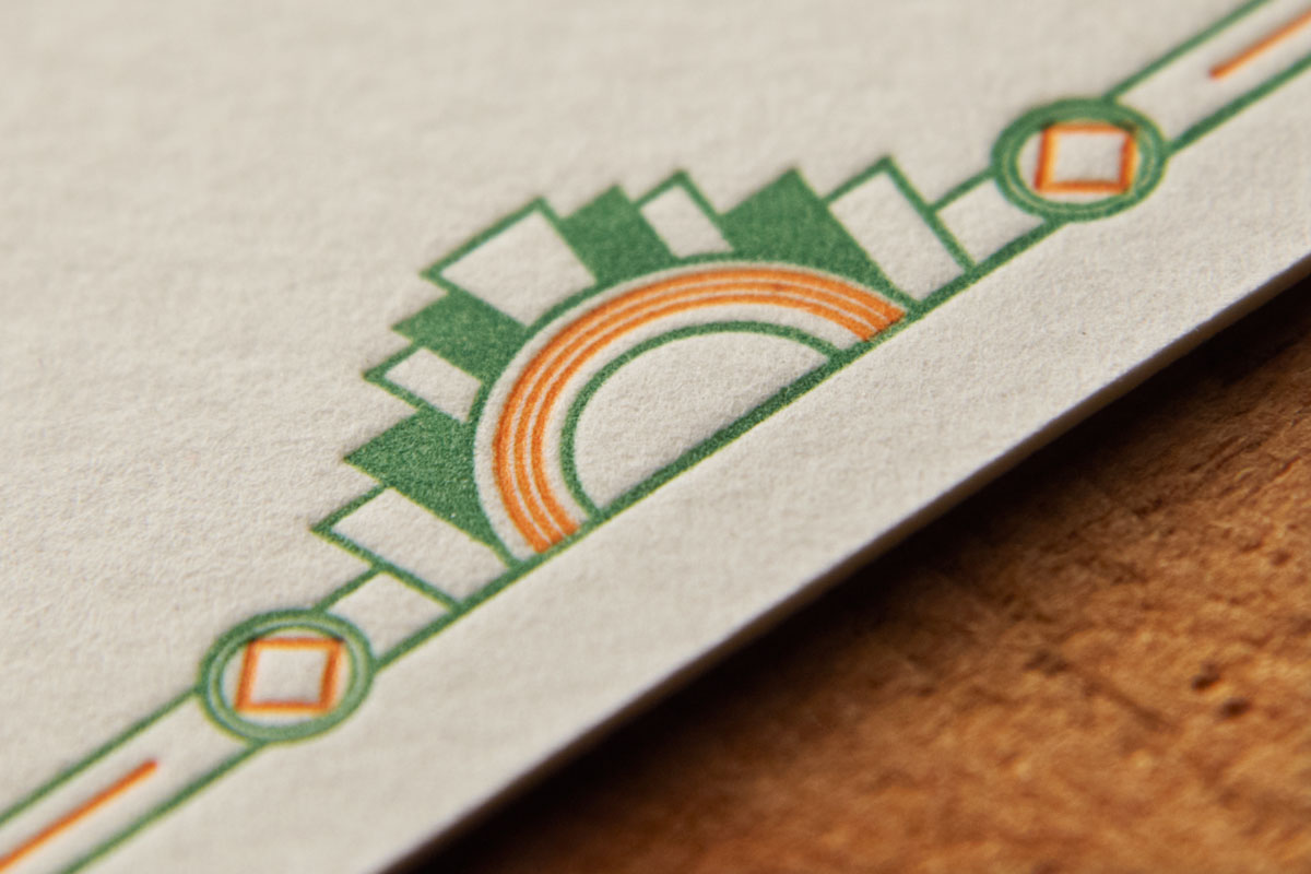 Close Up - Art Deco Letterpress Wedding Stationery, RSVP, Domaine Gayda