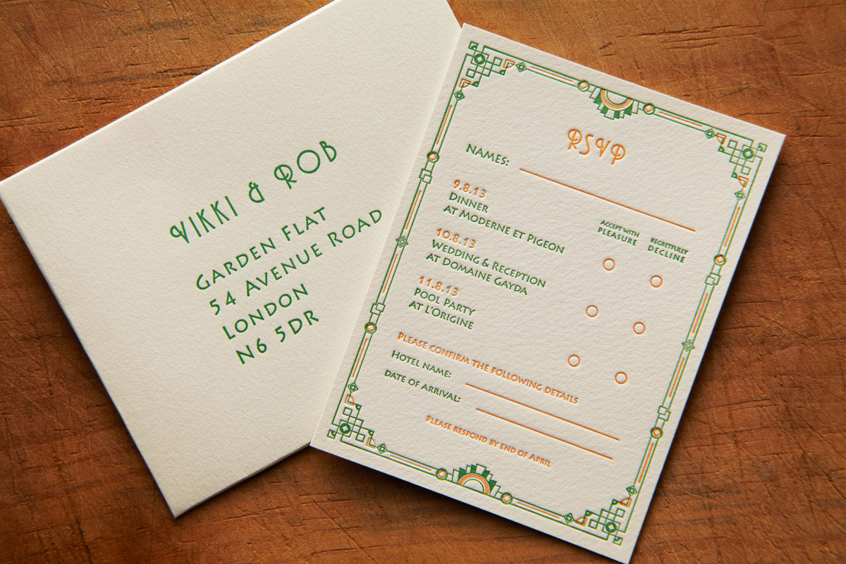 Art Deco Letterpress Wedding Stationery, RSVP, Domaine Gayda