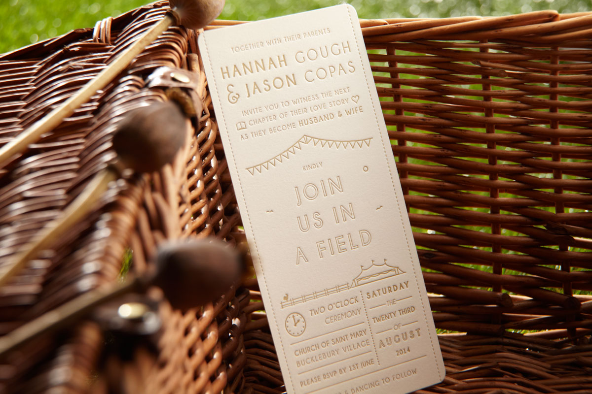 Join us in a field - Glamping Wedding Invitation