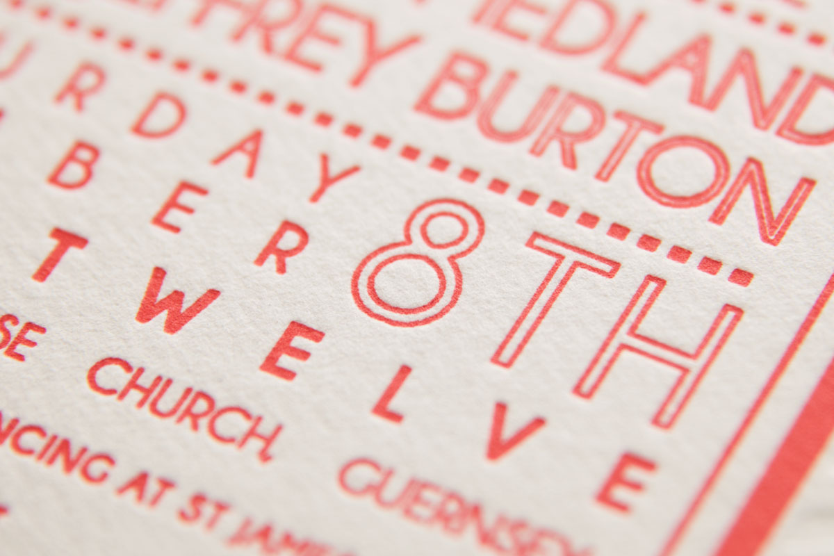 Close up - Letterpress wedding invite