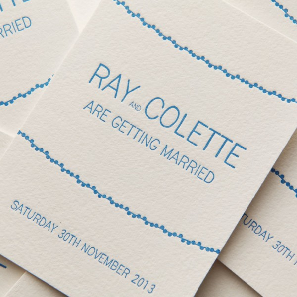 Letterpress Double Sided Wedding Invitation