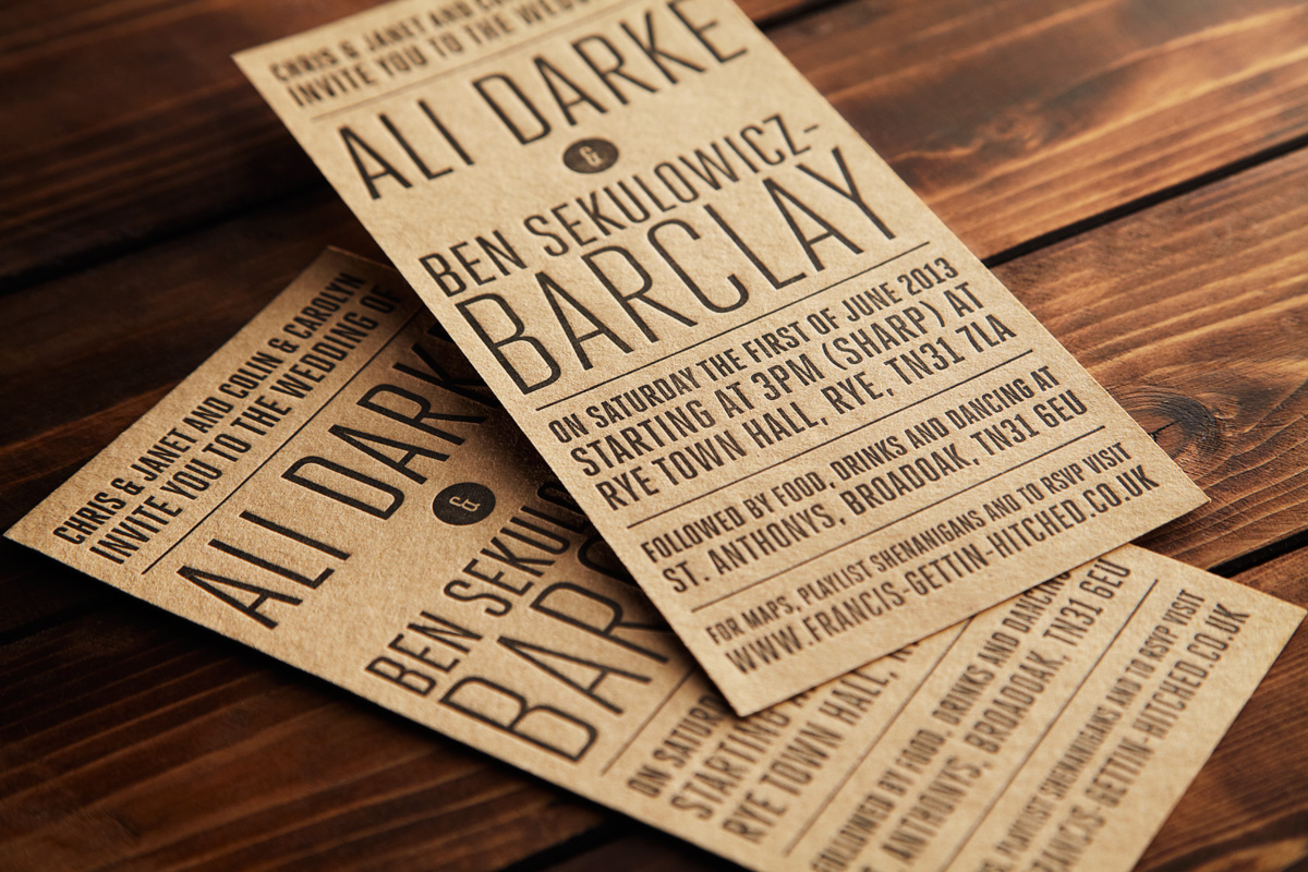 Black on Kraft Brown Letterpress Invitation