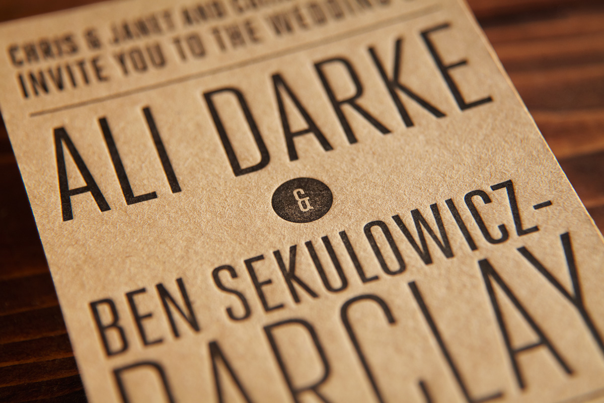 Kraft Brown Letterpress DL Invitation