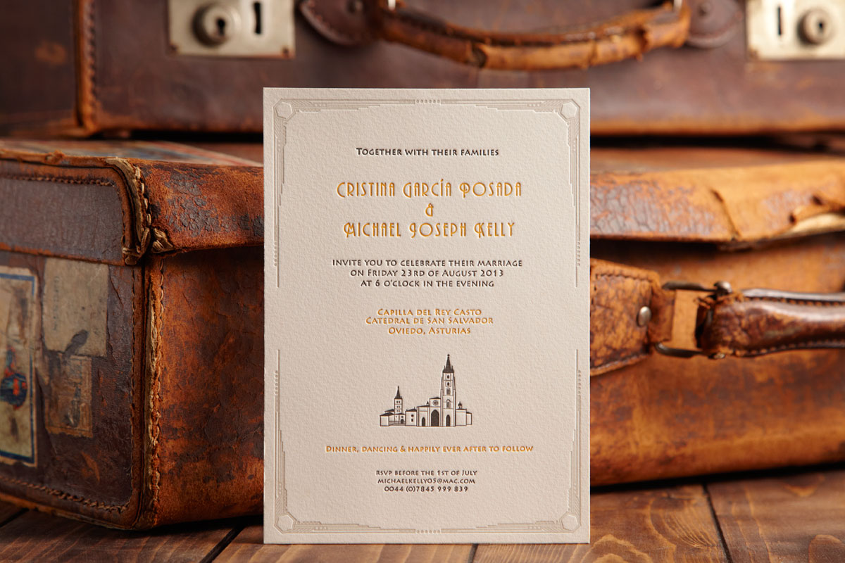 Bespoke Letterpress Wedding Invitation Cathedral Spain