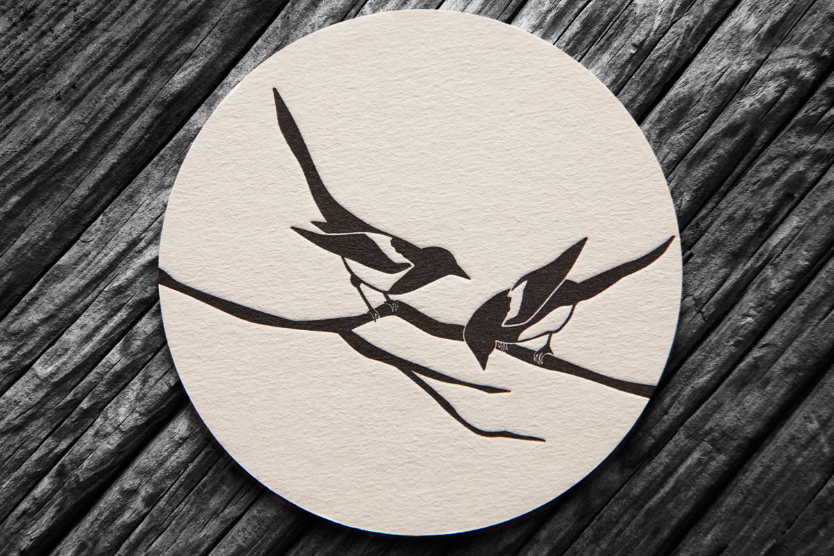 Bespoke Letterpress Beer Mat / Coaster, Two for Joy - Magpies