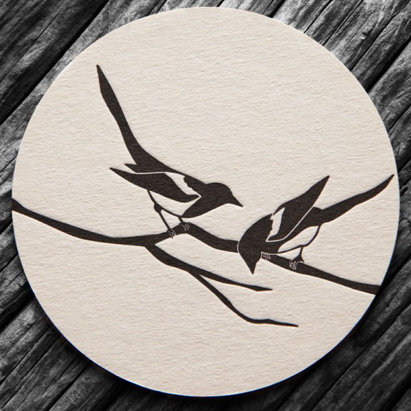 Two for Joy Letterpress Beer Mat