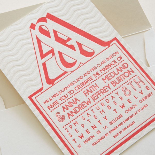 Letterpress Wedding Invitation - Anna & Andy