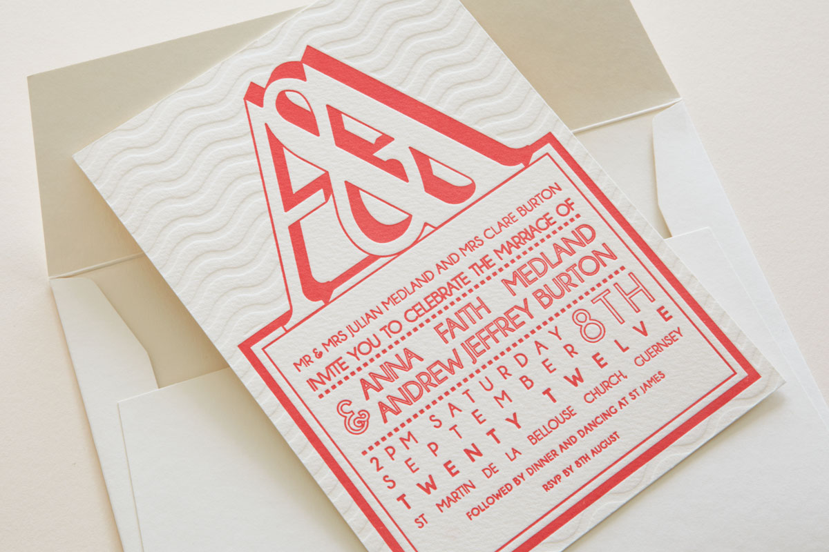 Blind de-bossed and coral Letterpress Wedding Invitation