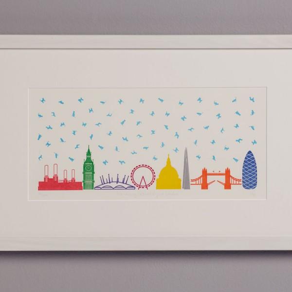 It's Raining Cats & Dogs in London - Letterpress Print