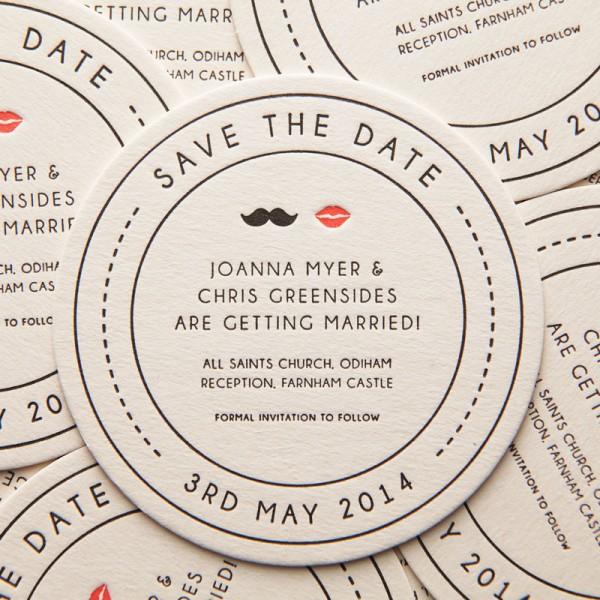 Letterpress Mr & Mrs Save the Date Coaster