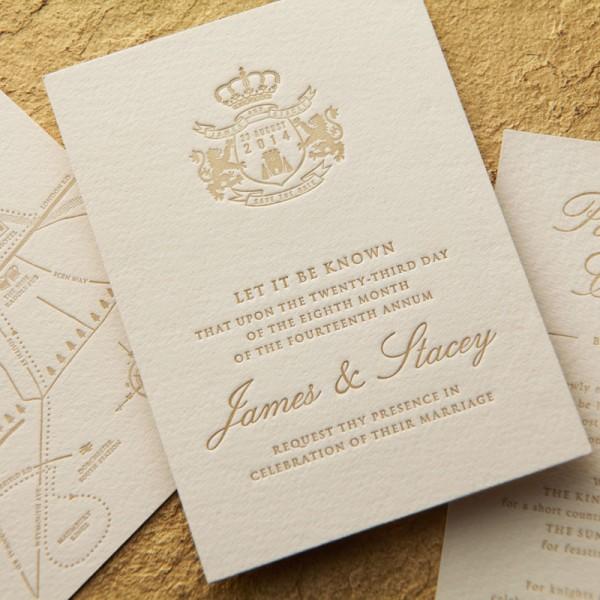 Luxury Letterpress Wedding Invitation - James & Stacey