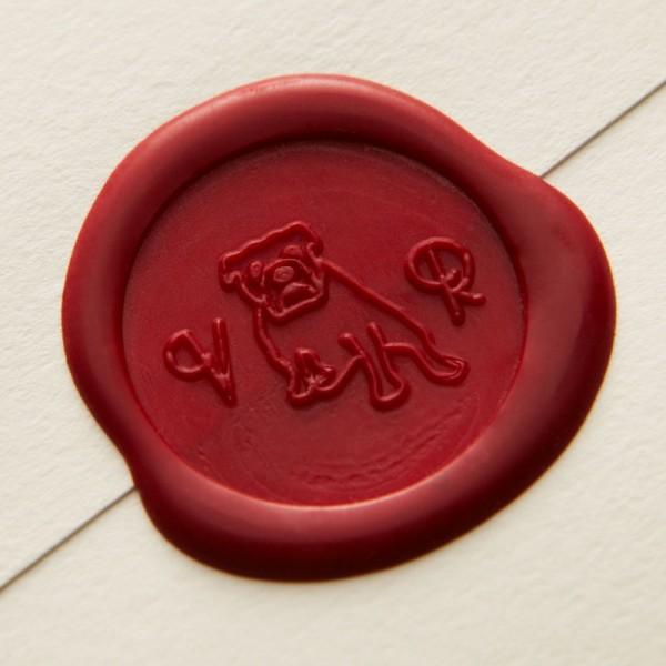 Bespoke Letterpress Wedding Invitation - Vikki & Rob Wax Seal Stamp