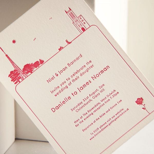 Bespoke Letterpress Wedding Invitation - Dani & James - London